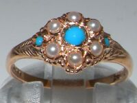 9ct Rose Gold Ladies Turquoise & Pearl Vintage Style Cluster Ring