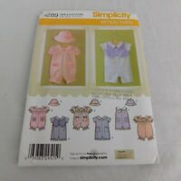 Simplicity 4289 Pattern Baby Boy Girl Romper Hat UNCUT Size XXS-S-M-L 1-18 Month