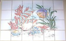 "Fish Ceramic Tile Mural Star Fish Sea Shells Coral Large Backsplash 24pcs 4.25"""