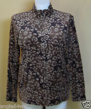 Basic Editions Womens Brown Animal Print Velour Jacket Large NWT 20956