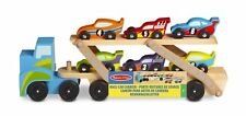 Melissa & Doug Mega Race-Car Carrier - Wooden Tractor and Trailer With 6 Cars