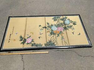 Vtg  Japanese Style Byobu Signed Hand Painted Flowers 4-Panel Folding Screen