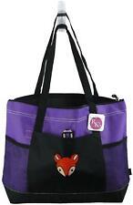 Baby Fox Head Monogram Gemline Bag Purple Zipper Tote Wolf Cartoon Mascot Gift