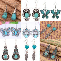 7 styles lady Tibetan Silver Turquoise Crystal Earrings Dangle Retro Jewelry