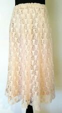 Vintage Crochet Skirt 1970's Women's Size Small Medium Beige Hippie Silk Blend