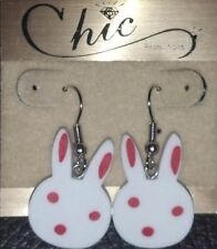 CUTE WHITE PINK RUBBER BUNNY RABBIT DANGLE SURGICAL STEEL PIERCED EARRING EASTER