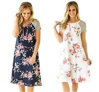 Ladies Dress Navy Blue White Backdrop Floral Print A-line Loose 10 12 14 16 18