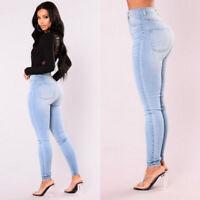 Womens Denim Jeans Slim Jeggings High Waist Trousers Stretch Skinny Pencil Pants