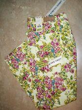 707  Code Bleu Pink & Yellow Floral Aimee Skinny Cropped Denim Pants Capris 10