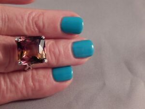 Huge 7.41 Ct. Square Cut Ametrine Ring Sterling Silver Free Sizing
