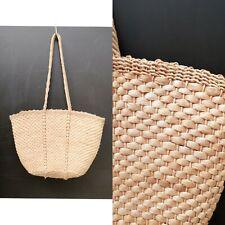Vintage 70s natural straw stripe woven shopper basket shoulder Bag holiday beach