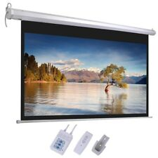 "100"" 16:9 Grey Material Foldable Electric Motorized Projector Screen + Remote HD"