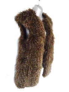 ❤ ZARA Size 10 (M) Two Tone Brown Long Faux Fur Open Gilet Body Warmer Pockets