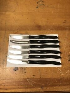 6 Cutco Steak Knives 1759 JJ & KH Very Good Condition Brown Swirl Handles