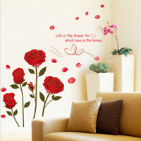 Red Rose Wall Decal Mural Removable Flowers Wall Sticker Vinyl Art Home Decor US