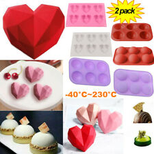 2Pack Silicone 3D Heart Shape Cake Mold Fondant Chocolate Baking Mould DIY Tool