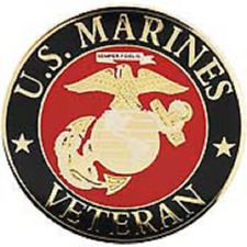 US Marine Corp VETERAN Pin 1.5 inches Large pin Double Post