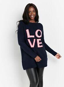 Evans Womens Blue Love Slogan Tunic Jumper Long Sleeve Knitwear Top Blouse