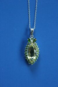 Gorgeous Sterling 925 Marquise Citrine and Peridot Pendant Necklace