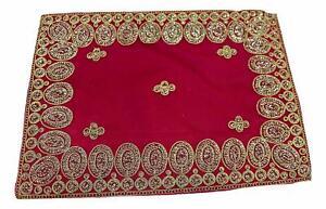 "Puja Pooja Assan Devi Mata Velvet Cover Mat Sitting Cloth God Goddess 10"" x 14"""