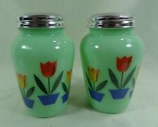 Dutch Tulips Salt and Pepper Shakers Jadeite Green Milk Glass Jadite RETRO