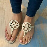 Tory Burch Miller White Patent Sandals Size 8.5