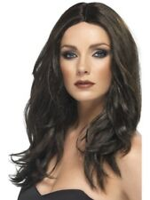 Dark Brown Long Wavy Superstar Wig Adult Womens Smiffys Fancy Dress Costume