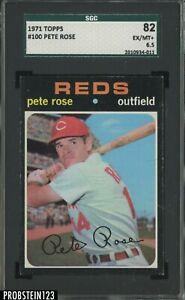 1971 Topps #100 Pete Rose Cincinnati Reds SGC 82 EX-MT+ 6.5