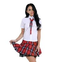 Naughty Sexy Women's Lingerie School Girl Uniform Fancy Dress Outfit Set Costume