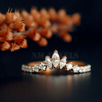 1.00 Ct Marquise & Round Diamond Crown Curved Wedding Band 14K Rose Gold Finish