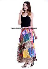 Multi Patcheork Long Indian Wrap Around Reversible Double Layered Silk Skirt