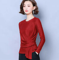 Fashion Women Long Sleeve Glitter Mesh Ladies Ruched Stretch T Shirt Blouse Tops