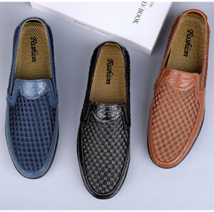 Summer Men Breathable Anti-Skid Loafers Driving Flats Slip On Mesh Low Top Shoes