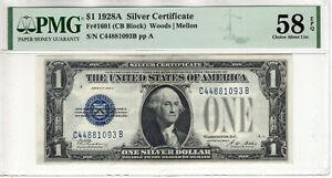 1928 A $1 SILVER CERTIFICATE NOTE CB BLOCK FR.1601 PMG CH ABOUT UNC 58 EPQ(093B)