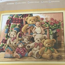 A very cute BEAR FAMILY cross stitch kit by JOY SUNDAY 14 ct size 46 x 37 cm