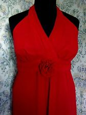 Scarlet red halter neck ballgown party dress by DEBUT Size 14 Floral adornment