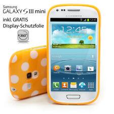 Samsung S3 Mini Galaxy i8190 Tapa Trasera Protector Carcasa Naranja Blanco Punto