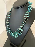 "Navajo Green Turquoise STERLING Silver Shell BEAD NECKLACE 19"" 788"