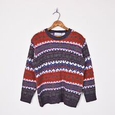 Vtg 80s 90s Grunge Fall Fair Isle Nordic Ski Wool Oversize Knit Sweater S M L