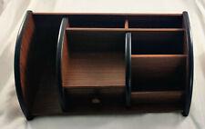 Huixing Wooden Cherry Brown Desk Caddy Supplies Holder