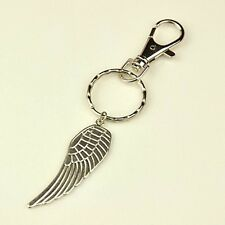 1 x Wing Keyring Tibetan Style - Split Ring & Swivel Clasp Antique Silver 108mm