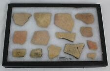 12 Piece Lot of Indian Artifact Potsherds from North Carolina in Display Case