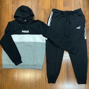 Puma Men's Hoodie Pants 2pc Set Size XL Tracksuit Black / Gray New
