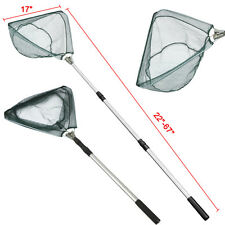Folding Handle Fishing Landing Net 3 Section Extending Pole