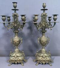 Pair (2) Antique GOTHIC VICTORIAN Reticulated BRASS Old CANDELABRA Candlesticks