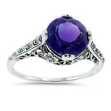2.5 Ct LAB AMETHYST ANTIQUE FILIGREE STYLE .925 STERLING SILVER RING SIZE 9, #62