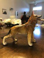 "Vintage German Shepherd Figurine Porcelain Ceramic 5.5"" Tall 7.5"" Long"