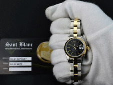 ROLEX 26mm 18kt Gold & Stainless DateJust Black Tapestry Stick 69173 SANT BLANC
