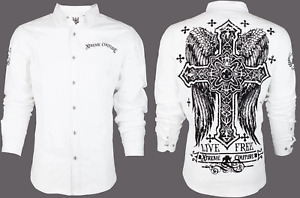 XTREME COUTURE by AFFLICTION Men's BUTTON DOWN Shirt FREE TO LIVE Cross Wings$78