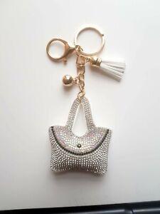 Silver bag Key ring Women Diamante Handbag Charm Key Chain Gift Girl Key ring